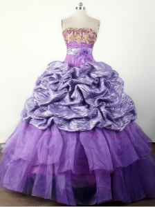 Modest Hand Made Flower Appliques Ball Gown Little Girl Pageant Dress Strapless Floor-length