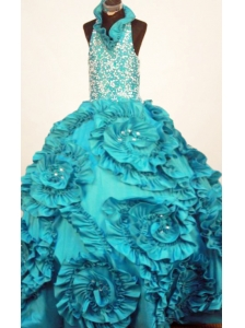 Perfect Little Girl Pageant Dresses Turquoise Halter Top Neck Ruffles Taffeta In 2013