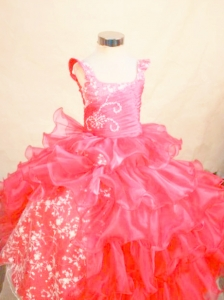 Perfect Organza Appliques Ball gown Square Floor-length Red Little Girl Pageant Dresses