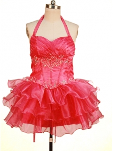 Perfect Short Little Girl Pageant Dresses Halter Top Neck Mini-Length Beading