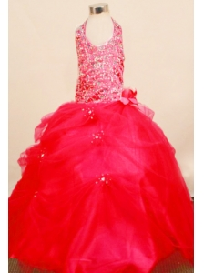 Popular Little Girl Pageant Dresses Ball Gown Halter Top Neck Floor-Length Tulle