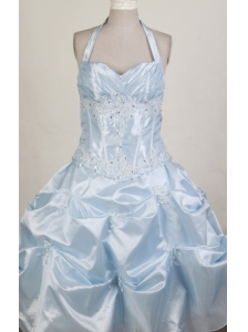 Pretty Ball Gown Halter Top Floor-length Little Girl Pageant Dress