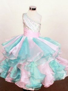 Pretty Little Girl Pageant Dresses One Shoulder Neck Floor-Length Beading Ball Gown In 2013
