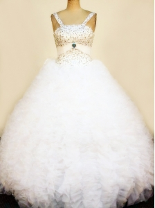 Pretty White Ruffles Little Girl Pageant Dresses Straps Beaded Decorate Bust Floor-Length