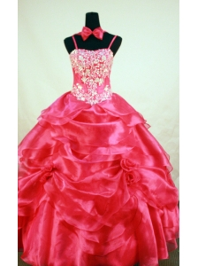 Red Beading and Hand Made Flowers For Little Girl Pageant Dresses