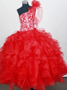 Red One Shoulder Little Girl Pageant Dresses With Hand Made Flowers and Ruffled Layers