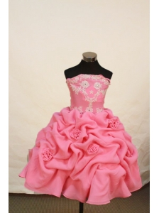 Romantic Watermelon Strapless Neckline Litter Girl Pengant Dress With Flowers and Appliques Decorate