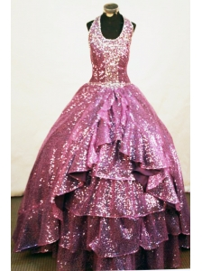 Sequins A-line Halter Floor-length Fuchsia Paillette  Beading Little Girl Pageant Dresses