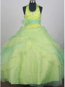 Sequins and Beading Decorate Apple Green and Spring Green Halter Flower Girl Pageant Dress  With Apple Green Belt