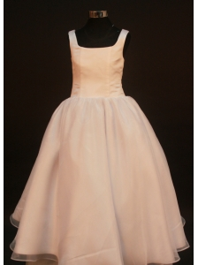Simple Princess Champagne Flower Girl Pageant Dress With Straps Neckline Organza