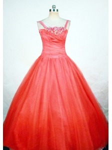 Simple Strap Orange Red Little Girl Pageant Dresses With Ball Gown