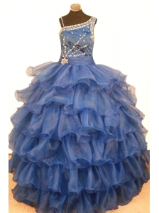 Stylish Ruffled Layeres Little Girl Pageant Dresses Ball Gown Asymmetrical Floor-Length Organza