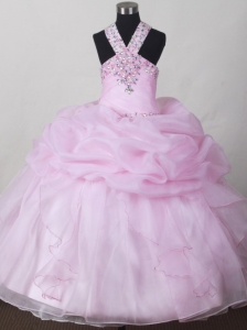 Sweet Baby Pink Little Girl Pageant Dresses  With V-neck Beading and Pick-ups