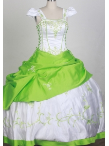 Sweet Ball Square Neckline White and Spring Green Embroidery Decorate Flower Girl Pageant Dress