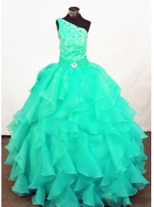 Turquoise Organza Beading Little Girl Pageant Dresses Customize