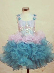 A-Line Straps Mini-length Multi-color Organza Beading Little Girl Pageant Dresses