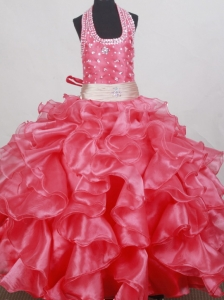Beading and Ruffles Decorate Bodice Sweet Ball Gown Little Girl Pageant Dress Halter Top Floor-length