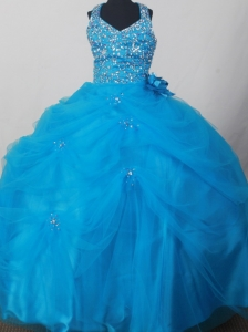 Blue Sweet Haltert Neckline Flower Girl Pageant Dress With Beaded and Flowers Decorate