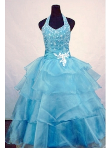 Custom Made Ball Gown Halter Top Beading Little Girl Pageant Dresses Light Blue Orangza