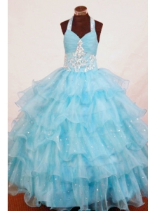 Halter Top Aqua Blue Organza Appliques Little Girl Pageant Dresses