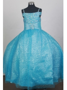 Light Blue Sequin Flower Girl Dress With Spaghetti Straps Neckline Beaded Decorate
