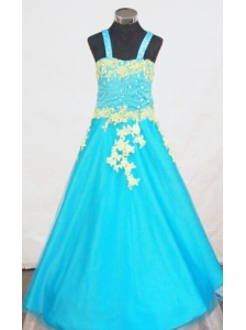 Popular A-Line Strap Little Girl Pageant Dresses With Aqua Blue Appliques