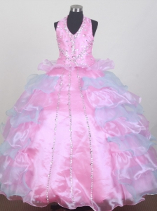 Pretty Beading Ball Gown Halter Floor-length Little Girl Pageant Dress