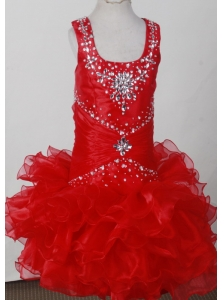 Red Pretty Scoop Neckline Beaded Decorate Litter Girl Pagaent Dress