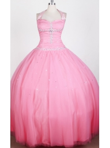 Simple Beaded Decorate Bodice Ball Gown Halter Top Floor-length Little Girl Pageant Dress