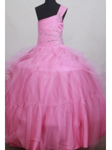 Sweet Beading Ball Gown One Shoulder Little Girl Pageant Dress Floor-length