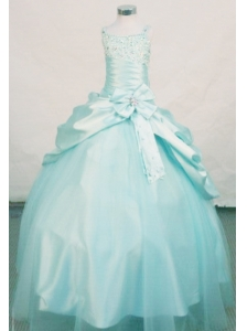 Beading Elegant Ball Gown Straps Floor-length Apple Green Beading Little Girl Pageant Dresses