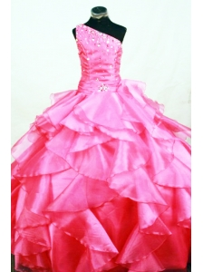Ruffles Romantic Ball gown Hot Pink Organza One Shoulder Beading Floor-length Little Girl Pageant Dresses
