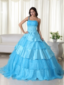 Aqua Ball Gown One Shoulder Floor-length Organza Beading Quinceanera Dress