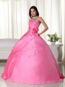 Pink Ball Gown Strapless Floor-length Taffeta Beading Quinceanera Dress