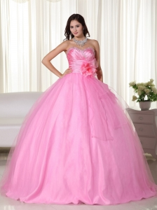 Pink Gown Sweetheart Floor-length Tulle Beading Quinceanera Dress