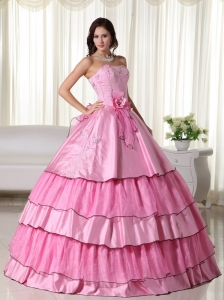 Rose Pink Ball Gown Strapless Floor-length Taffeta Beading Quinceanera Dress