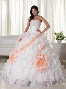 White Ball Gown Sweetheart Court Train Organza Appliques Quinceanera Dress