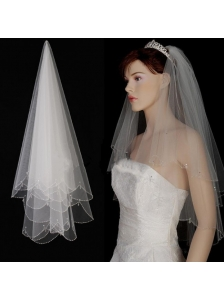 2 Layer Tulle With Pearls Fingertip Veil