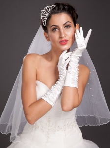 Elegant Satin Fingerless Elbow Length Bridal Gloves