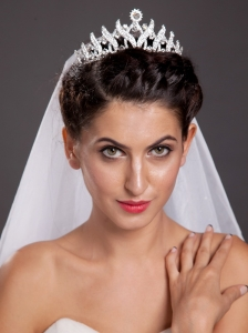Elegant Alloy Employed Tiara With Beading Decorates