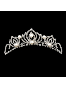 Popular Tiara With Rhinestone and Imitation Pearl Accents