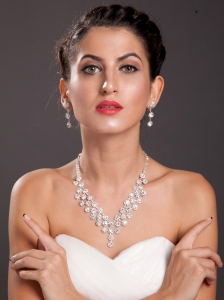 Alloy With Elegant Imitation Pearl Wedding Jewelry Set Including Necklace And Earrings