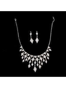 Amazing Rhinestones Alloy Plated Jewelry Set Including Necklace And Earrings