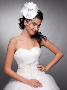 Beautiful Organza and Taffeta Headpieces Pearls