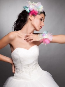 Colorful Organza Hand Made Flower Headpieces Wedding Wrist Corsage