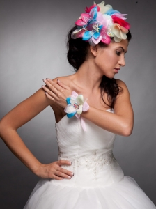 Colorful Organza Hand Made Flowers Headpieces and Wedding Wrist Corsage