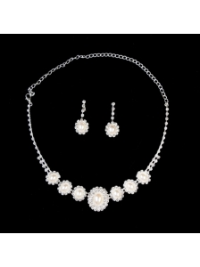 Elegant Pearl With Rhinestone Wedding Jewelry Set Including Necklace And Earrings