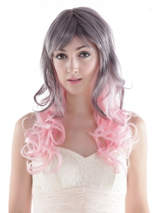 Fairy Gray / Pink Long High Quality Synthetic Hair Wig