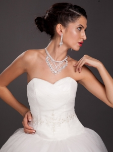 Gorgeous Imitation Pearl Bridal Jewelry Set Necklace With Earrings