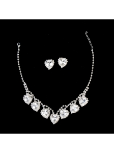 Gorgeous Sweetheart Shaped Rhinestones Wedding Jewelry Set Including Necklace And Earrings